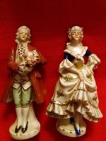 Antik 19. századi gyönyörű Alt wien barokk porcelán figurapár egyben 14 cm