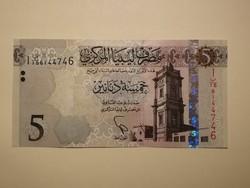 Líbia 5 Dinar 2015 UNC