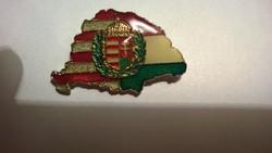 Új-Árpád sávos-magyar címeres  zománcozott bross-kitűző 38 mm-uniszex