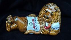 Retro Samson Dohány Kerámia Reklámfigura Dohányzó Oroszlán