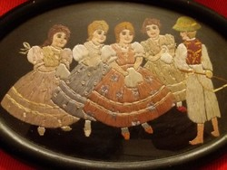 Antik gyönyörű selyem hímzett Biedermeier falikép 29 X 20 cm