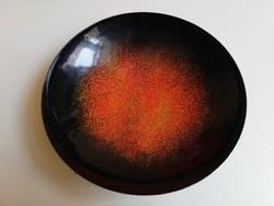 Retro tűzzománc tál, fekete narancs színátmenetes