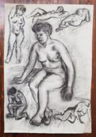 Pajor Ferenc XX.sz. magyar festőművész: női tanulány akt szénrajz 1956.
