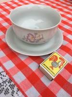 Bazsarózsás szószos - mártásos porcelán tányér csésze - tartó Apulum