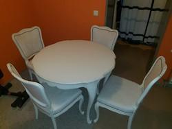 Warrings törtfehér étkezőasztal 100x76cm magas 4 székkel