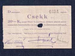 Magyarország Csekk 20 Koronáról 1919 Pápa szükségpénz D sorozat 1919/ id 16639/
