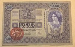 10.000 korona 1918 Magyar bélyegzéssel! Erős VF!