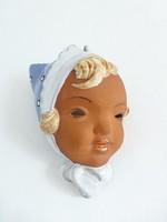 Extrém ritka antik Royal Dux kislány fej,falidísz