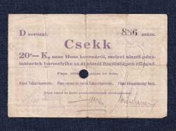 Magyarország Csekk 20 Koronáról 1919 Pápa szükségpénz D sorozat 1919 / id 16638/
