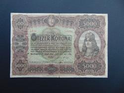 5000 korona 1920 nagyméretű bankjegy