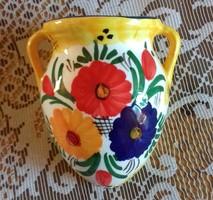 Kerámia fali váza,dísz virágmintával, jelzett