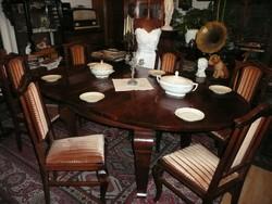 Étkezőgarnitúra - gyönyörű szecessziós 8 személyre kinyitható étkezőasztal, 6 db restaurált székkel