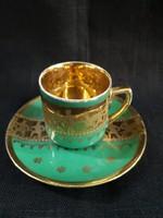 Gyönyörű gyüjtői Altwien csésze+alj vadászjelenettel, dúsan aranyozott
