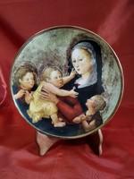 Hollóházi porcelán tányér VIERGE À L'ENFANT- Szerető gyermek