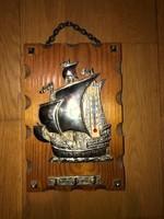 Régi hajós, fali kulcstartó hőmérővel