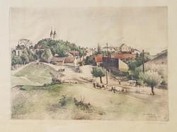 Dudás Jenő - Tihany 28 x 39 cm színezett rézkarc