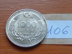 TÖRÖKORSZÁG 1000 LÍRA 1991 A félhold hold ötágú csillaggal, jobbra 106.