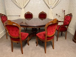 Neobarokk étkező szett 6 db székkel