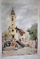 Vasárnap című színezett antik rézkarc magyar vidéki templom és utcajelenet