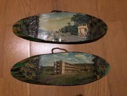2 db régi festett kép ovális fa lapon ( Visegrád és Aggtelek ) jelzett