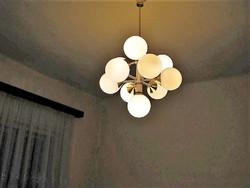 Extra retro,mid century gömbös design csillár,üveggömb vagy műanyag búrával választható
