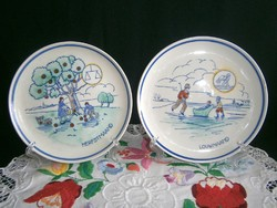 2 db antik, nagyon ritka dekoratív fali tányér, a Gouda Royal Goedewaagen gyártmánya