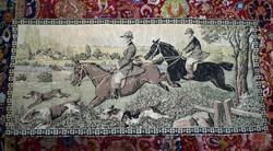Antik szecessziós vadász vadászat jelenetes mokett falvédő 154 x 70 cm pointer , lovaglás