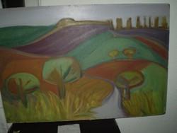 Zöld Anikó: TÁJ  c. Képcsarnokos festménye.90x60cm 5,