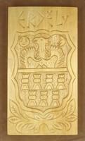 0Z098 Erdély címer fafaragás fali dísz 41 x 22 cm
