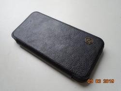 Nillkin Qin fekete valódi bőr oldal nyíló  tok iPhone 5,5S és SE számára