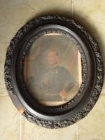 Osztrák tiszt portréja - ovális keretben