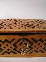 19.századi nagy fa doboz ládika kulccsal
