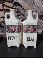 Eczet és olaj fajansz fűszertartó