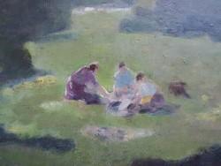 OLAJ FESTMÉNY kép  Piknikezők a szabadban