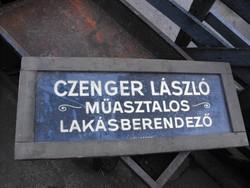 Ritka Antik Loft  bútor Asztalos Lakásberendező cég céh reklám tábla ritka üveg - fa vintage