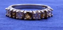 Ezüst gyűrű alkalmi fehér barna kövek 925