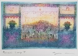 Gross Arnold -  Római ünnep II. 20 x 32 cm színezett rézkarc