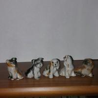 Porcelán mini kutyusok 5 db jelzetlen