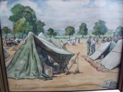 Gebauer Ernő EREDETI akvarellje katonai tábori fogsága idejéből   2.