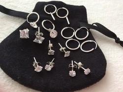 8 pár új ezüst fülbevalók