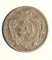 20 Heller 1907 Nikkel - Osztrák Habsburg Franz Joseph /ERM010/
