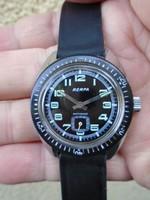 RITKA  WW2  RERFA 17 Jewels Swiss Made Military Black Dial Watch FULL ACÉL BUVÁRÓRA