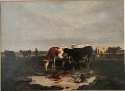 Alfréd Robert Quinton (1853-1934): Hajnali legelés. Jelzett olajfestmény!