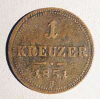 1 Kreutzer 1851 B - Osztrák Habsburg krajcár Kreuzer Bécs/ Wien /ERM005/