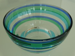Leonardo üvegtálka  kék és türkiz csíkokkal díszítve, 14 cm átmérő