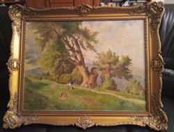 """Hawlisch Gusztáv """"Piknik Keleti Gusztáv után"""" nagyméretű vászon festmény gyönyörű blondell keretében"""