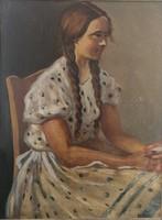 Mund Hugó (1892-1961): Copfos, Argentin leány. Jelzett olajfestmény.