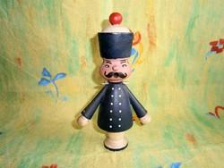 Retro kézzel készült, festett fa katona bábu 19 cm magas