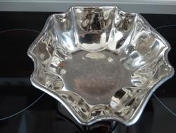 Ezüst bevonatú tálka, jelzett, 14,5 cm átmérő