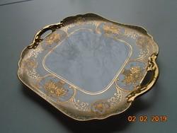 NORITAKE luxus japán porcelán,aranybrokát virágkosár mintával,újszerű tálca díszes fogókkal 25x22 cm